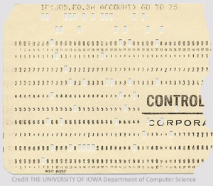 computer-data-card from THE UNIVERSITY OF IOWA Department of Computer Science